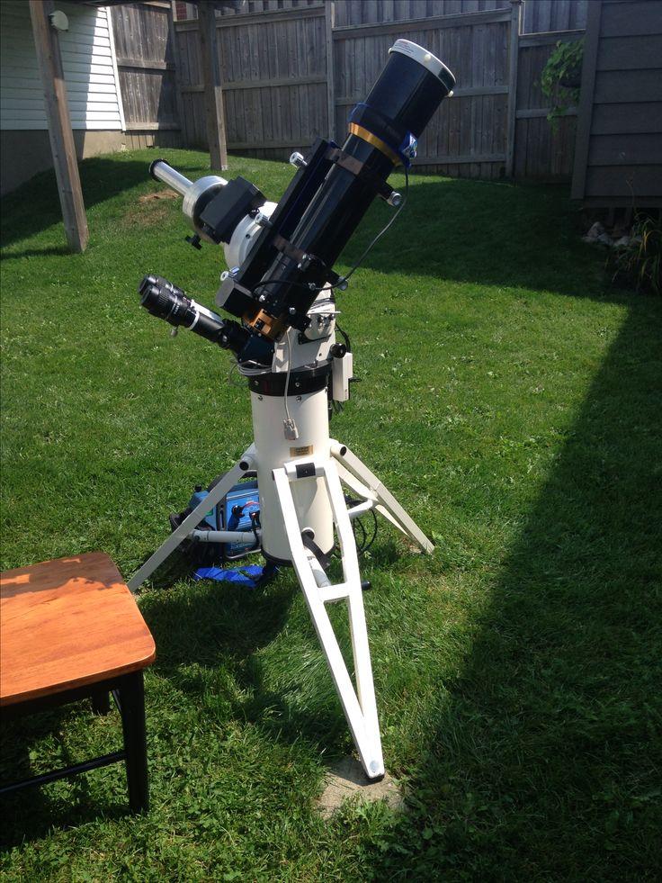 William Optics Zenithstar 110 setup to view the Aug 21, 2017 (partial) solar eclipse.   Mount: AP1100GTO  Tripod: ATS portable pier Binoviewers: William Optics Solar Filter: Kendrick White light