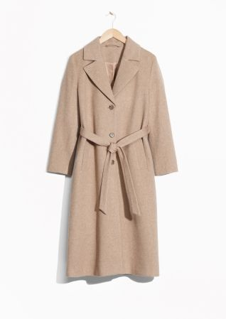 & Other Stories image 2 of Loose Alpaca Blend Coat in Beige