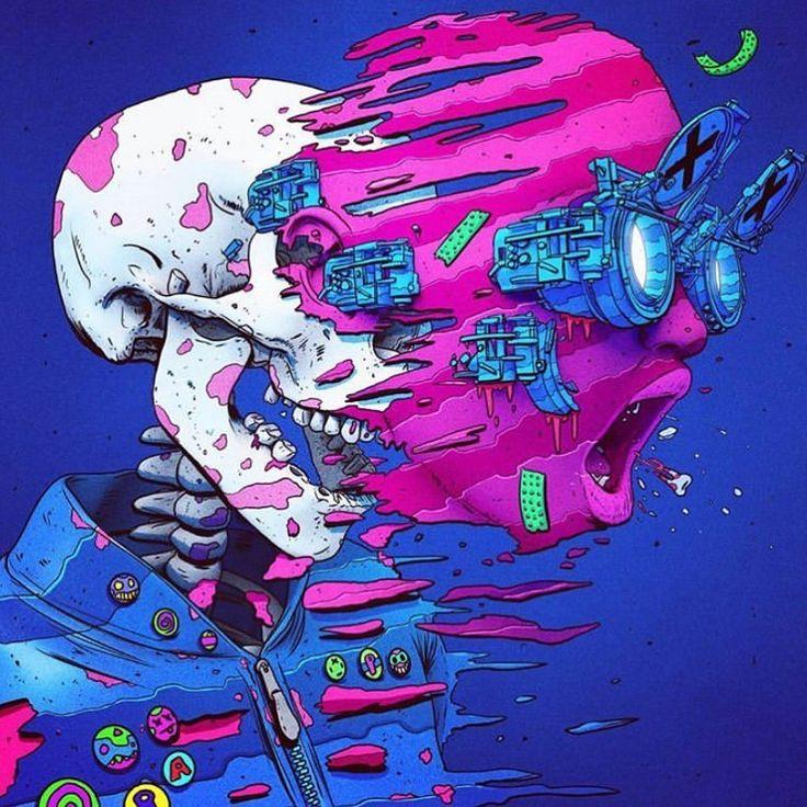 "@xsullo on Instagram: ""SPLIT (2017)💀 . . . #art #art #illustration #neon #neonart #lowbrowart #lowbrow #skull #grunge #grungeart #cyberpunk #scifi #cyberpunkart…"""
