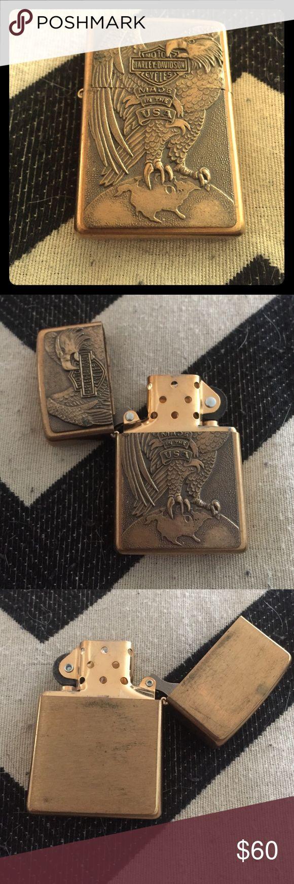 Harley Davidson Zippo Lighter Eagle Crest Zippo Lighter. Eagle is standing on the world. Vintage gold coloring. Harley-Davidson Accessories