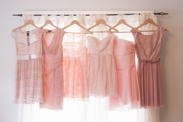 Mismatched pink/blush bridesmaids dresses.