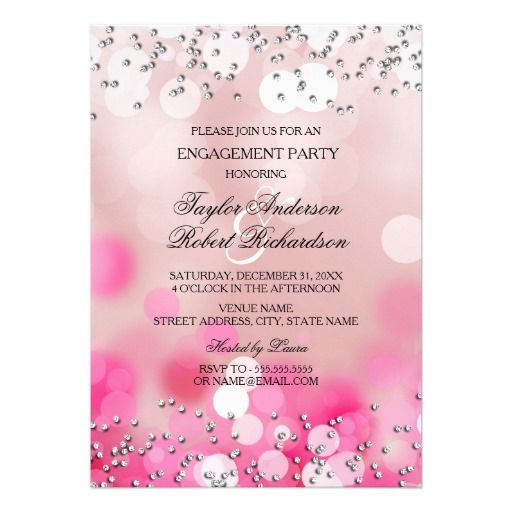 Pink Sparkle Lights Engagement Party Invitation