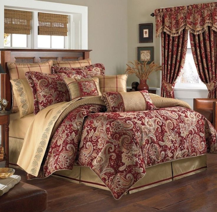 NEW CROSCILL MYSTIQUE CLARET RED GOLD REVERSOB;E COMFORTER ONLY QUEEN #Croscill