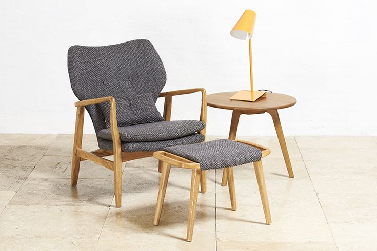 Scandinavian inspirations meet retro styling // Morden Armchair & Ottoman in Ash Walnut w/ Salt & Pepper Cushion // Buy at Schots in Melbourne & Geelong, Australia