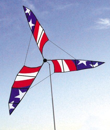 "6.5-ft. Stars and Stripes Patriotic Wind Generator by Accent Home and Garden. $108.00. These huge spinners generate real excitement in the great outdoors. Made of fiberglass spars and heavy-duty hubs. Impressively big, their sails spin in the slightest breezes. Complete with sturdy aluminum masts, ground stakes and 47"" cases. Made of fade-resistant, Dupont Solarmax nylon. These huge spinners generate real excitement in the great outdoors. We've never seen wind art at..."