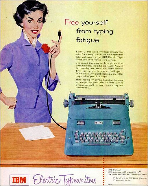 Just unplug the typewriter and say it's broken. (Funny bad retro office ads)