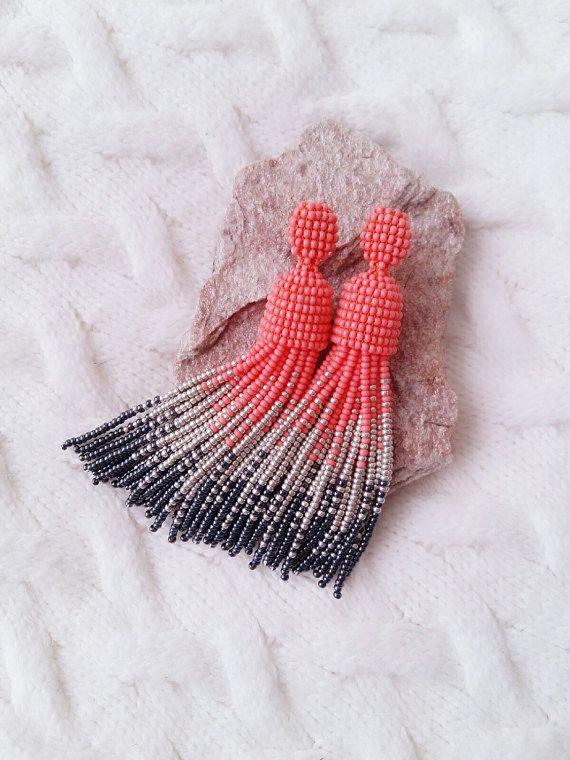Earrings Oscar De La Renta style. Long earrings. by JewelryByYulia