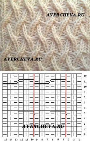 Узор спицами 972 « Необычная плетенка 2» | каталог вязаных спицами узоров