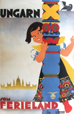 Hungary Ibusz, 1930s - original vintage poster by Marianne Lechner listed on AntikBar.co.uk