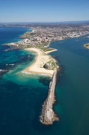 Nobbys Head and Entrance to Newcastle Harbour, Newcastle, New South Wales, Australia - aerial