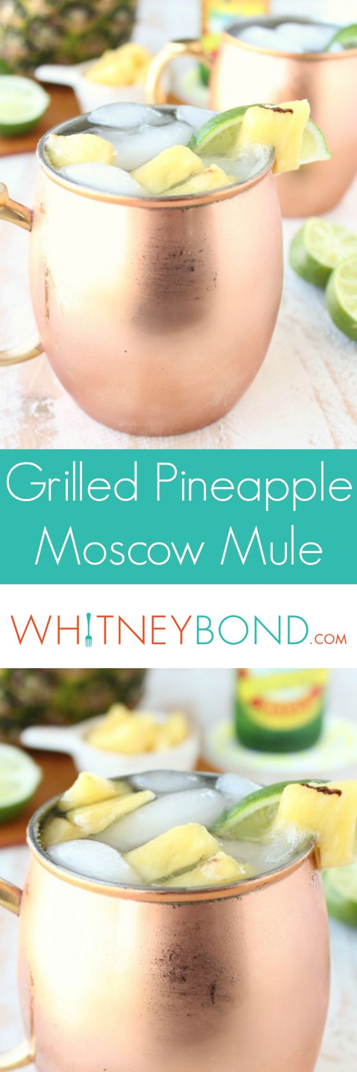Fresh grilled pineapple adds delicious flavor to a classic Moscow Mule in this tasty cocktail recipe! Grab Moscow Mule Mugs at @worldmarket to keep them cool! #WorldMarketTribe