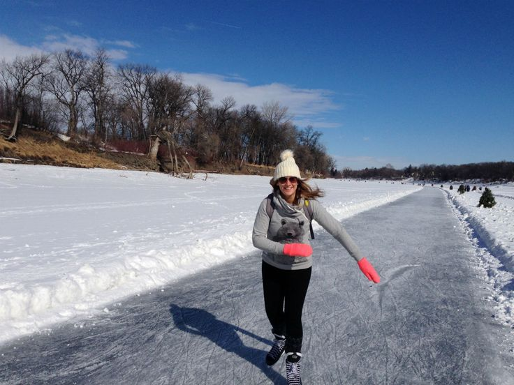 20 Ways Winnipeg Crushes it in Winter - You too will be this happy when you skate on the Red River Mutual Trail (Tourism Winnipeg)
