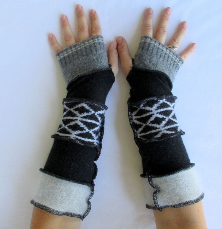 Recycled Sweater Fingerless Gloves Arm Warmers Grey Black Diamond Gloves Armwarmers Upcycled Clothing by ThankfulRose on Etsy