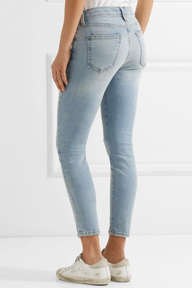 Current/Elliott - The High Waist Stiletto Distressed Skinny Jeans - Light denim -