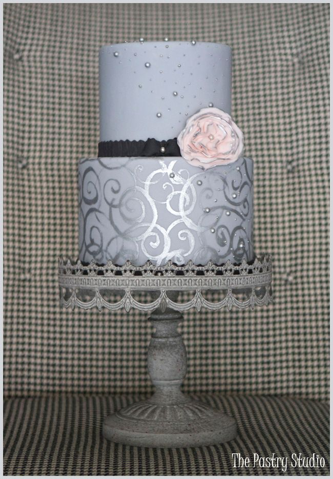 A Grey and Silver Cake with a touch of Black & Pink By The Pastry Studio: Daytona Beach, Fl » The Pastry Studio