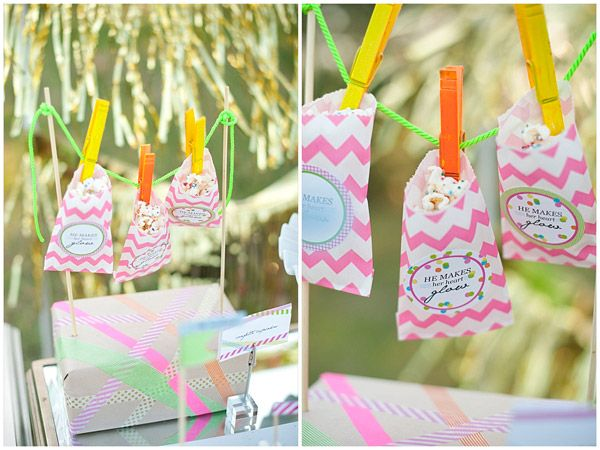 display {twine + clothespins for donut hole bags}