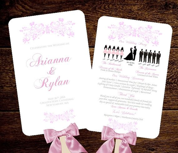 Silhouette Wedding Program FAN Vintage Fleurs - CUSTOM Printable PDF File - diy - Choose Your Colors - Add a Timeline - Text is Done For You