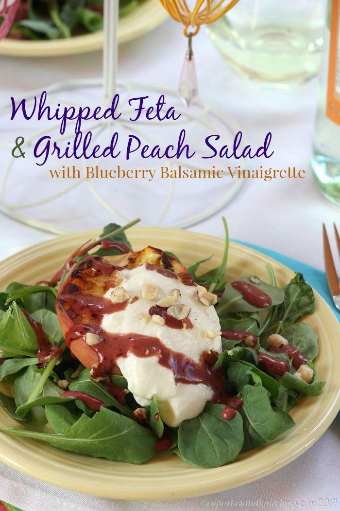 Whipped Feta & Grilled Peach Salad with Blueberry Balsamic Vinaigrette   cupcakesandkalechips.com   #vegetarian #fruit #glutenfree