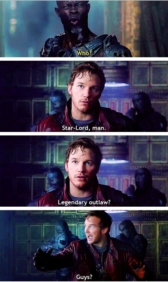 "Little help here?  (Chris Pratt in ""Guardians of the Galaxy"")  #GOTG #GuardiansOfTheGalaxy"