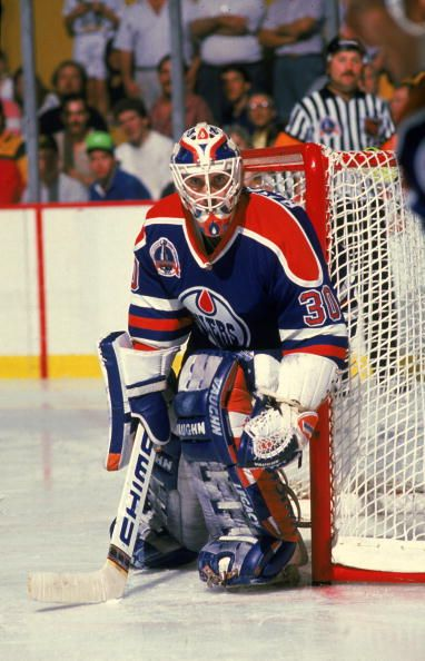 Canadian hockey player Bill Ranford goalkeeper for the Edmonton Oilers in the net during a game October 1990
