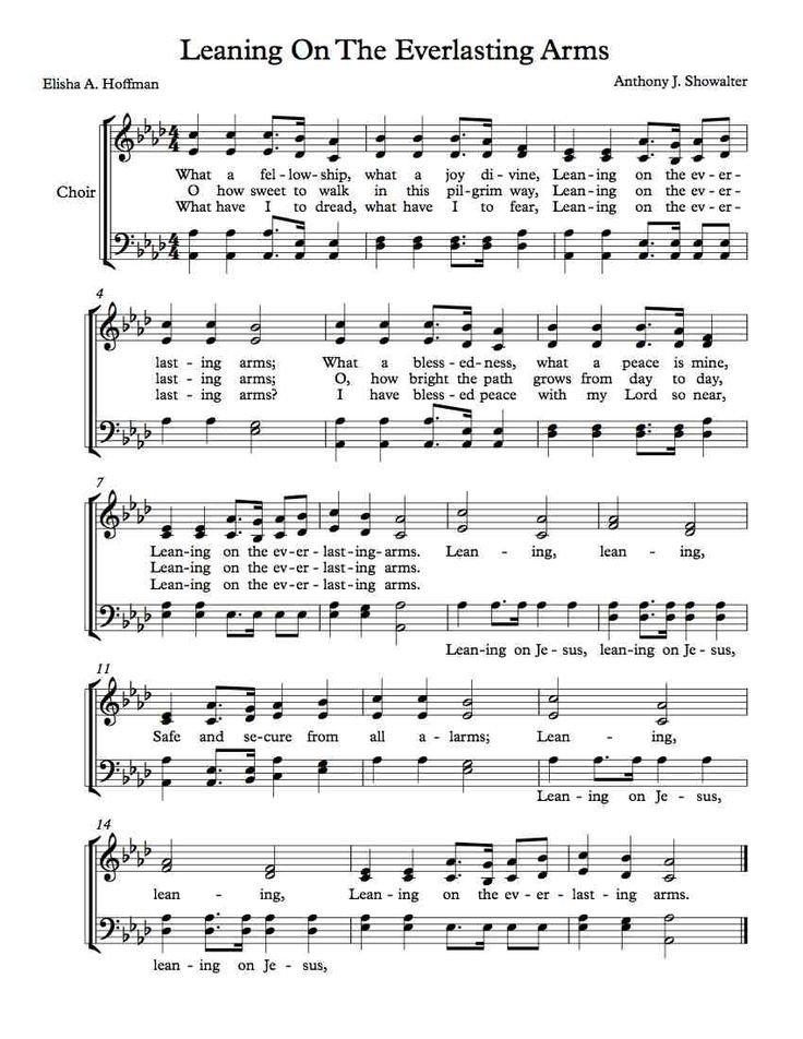 Leaning On The Everlasting Arms Song | Free Choir Sheet Music – Leaning On The Everlasting Arms | Michael ...