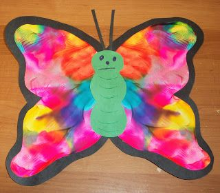 butterfly painting. put blobs of paint on one half, fold the paper in half and rub together, unfold and add the body