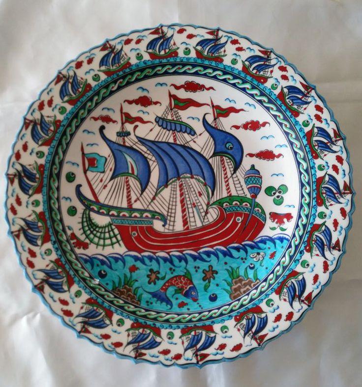 NAUTICAL TURKISH CERAMIC PLATE, 40 cm
