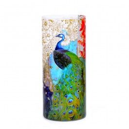 Kuheli Precious Peacock Vase : This Kuheli Vase embraces the peacock in their natural and exotic habitat. Seeing the peacock in its own surroundings is a precious moment. A moment which is never forgotten. This product has the design printed on the glass.