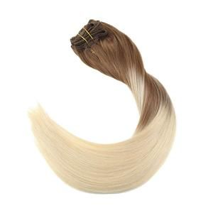 Balayage Clip in Human Hair Extensions Light Brown to Blonde #8/8/613