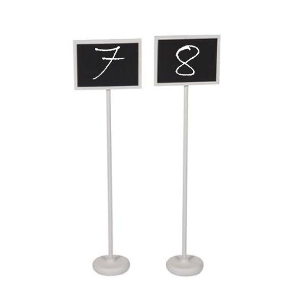 These blackboard stands are perfect for table numbers for your restaurant or cafe. They feature a white wooden base and pole which holds the small blackboard. They come in a set of two