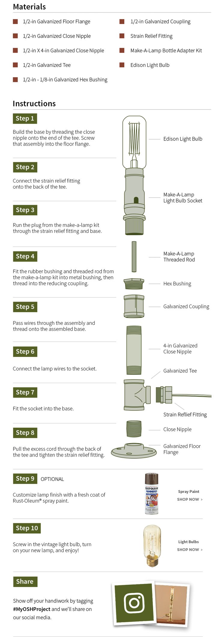 Materials and Instructions Robot lamp Make a lamp Diy