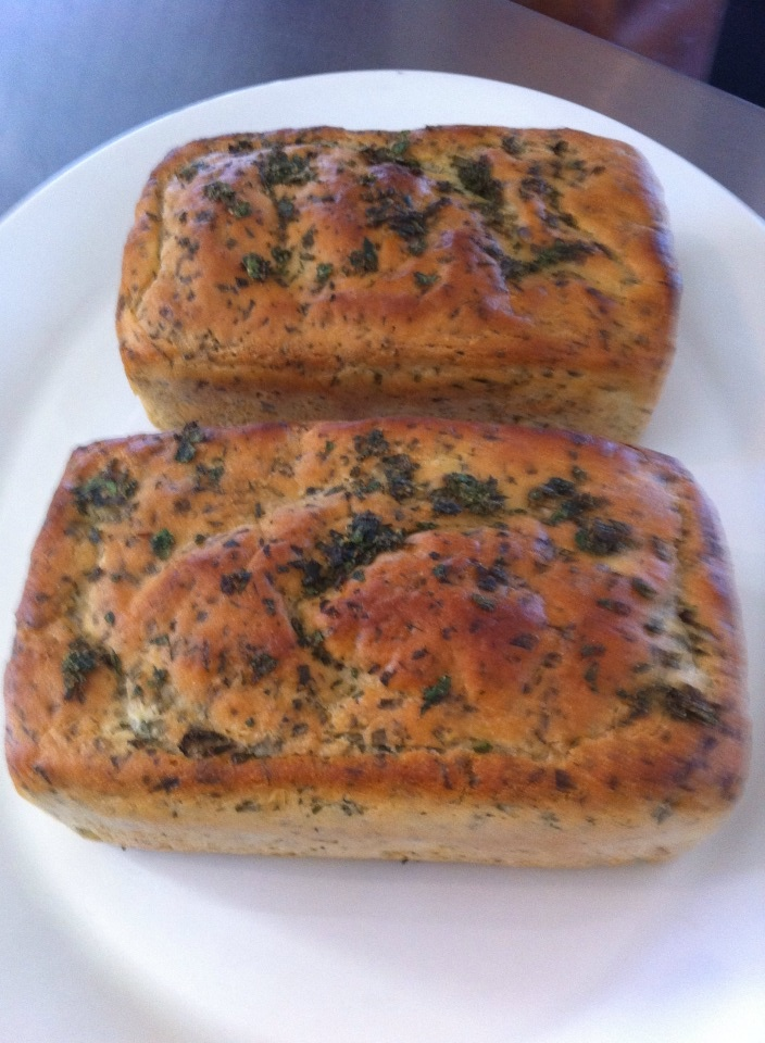 Using a packet bread mix we made gluten free bread adding olive oil, fresh parsley and chives.