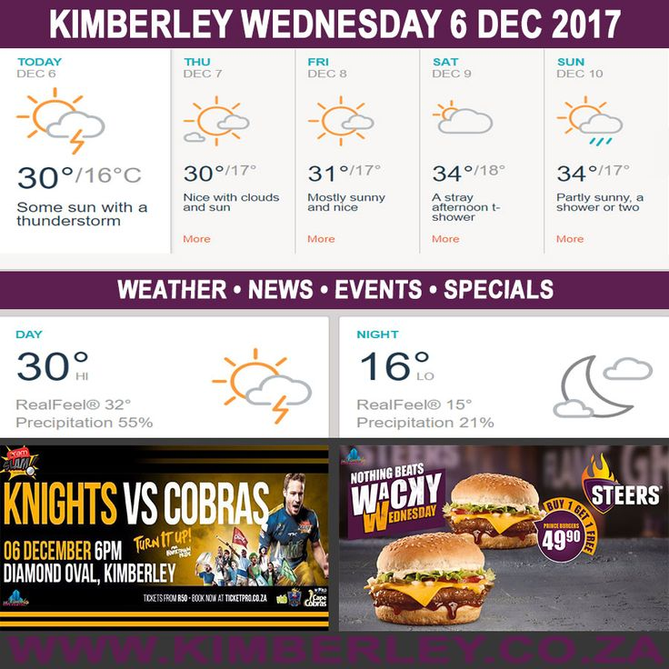 KimberleyToday, Wednesday 06/12/2017 - http://www.kimberley.org.za/kimberleytoday-wednesday-06122017/?utm_source=PN&utm_medium=Pinterest+History+KImberley.org.za&utm_campaign=NxtScrpt%2Bfrom%2BKimberley+City+Info - #KimberleyToday, Wednesday 06/12/2017 The weather forecast for today is; Periods of sun and clouds with a shower or thunderstorm around, becoming clear later on.  Max UV Index:13 Fire Danger:Low Thunderstorms:40% Rain:3mm  #KimberleyEvents @