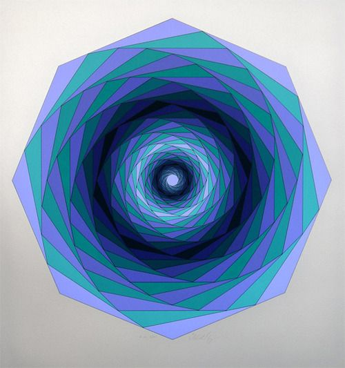 Sirius by Victor Vasarely. Blue green aqua teal turquoise