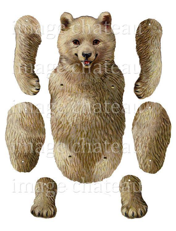 POLAR BEAR toy MECHANICAL cut-out Jumping Jack white Teddy