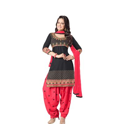 Buy Decent Wears Black Cotton Dress Material by Decent Wears, on Paytm, Price: Rs.1150