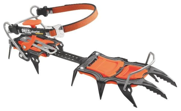 Petzl Sarken SpireLock Re-designed to improve durability, SARKEN crampons are now better than ever. These crampons are excellent on all mixed terrain. The 4x4 of crampons. The T-shaped front points are designed for excellent penetration of hard ice and stable positioning on mixed terrain while providing solid purchase in snow and névé.