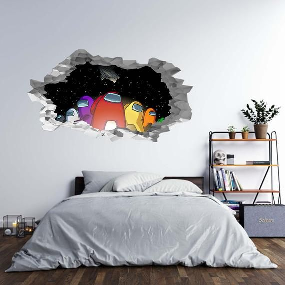 Among Us Characters 3d Hole In The Wall B Effect Wall Sticker Decal Mural Home Decor Wall Art Game Room Decor Room Wall Decor