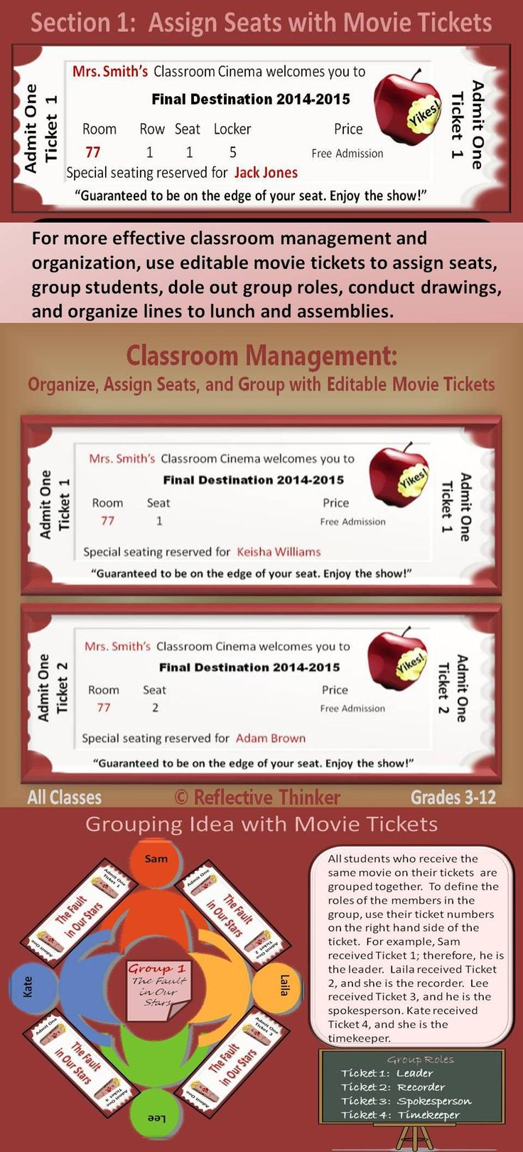 """The first week of back to school, do not find yourself on the """"Edge of Tomorrow."""" Use the 100 editable movie tickets and materials in this resource to organize and manage as well as add fun to mundane tasks such as assigning seats, formulating lines, and grouping students."""
