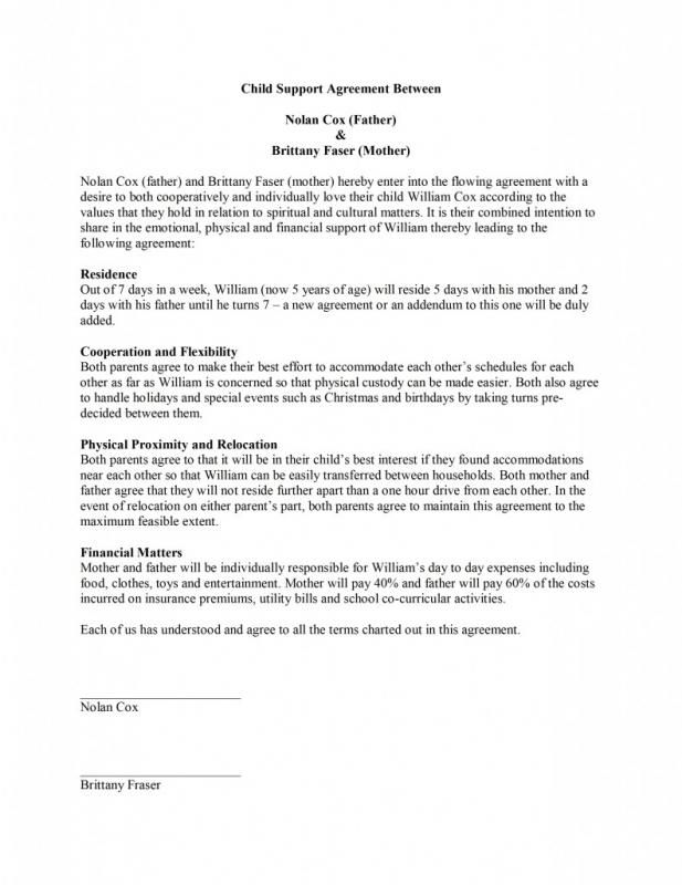 Child Support Agreement Template Child Support Custody