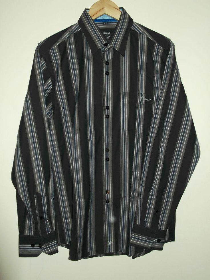 Outrage Dusk Men's Size Large Long Sleeve Striped Shirt