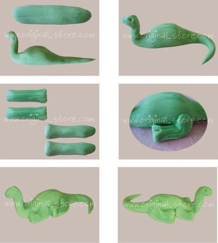 Explications pas à pas pour modeler un dinosaure en pâte à sucre pour poser sur vos gâteaux. Vous pouvez trouver de la pâte à sucre ici.