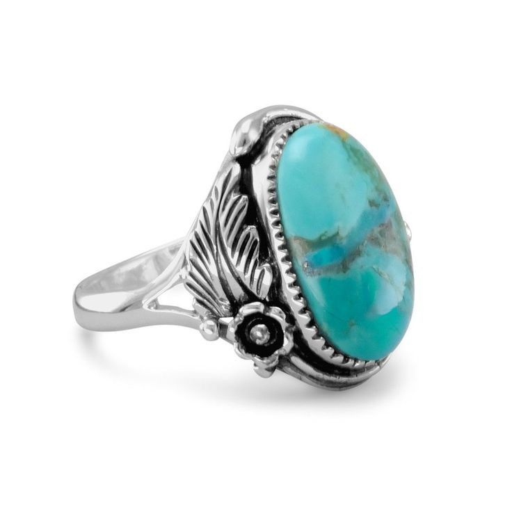 Oxidized ornate sterling silver turquoise ring with a vine and leaf design. Genuine Turquoise is approx.13mm x 17mm 2.5mm wide band Solid .925 Sterling Silver
