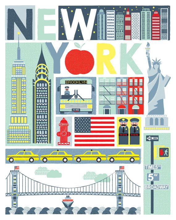 Quirky New York Illustrative Print 8x10 Poster por helenrobin