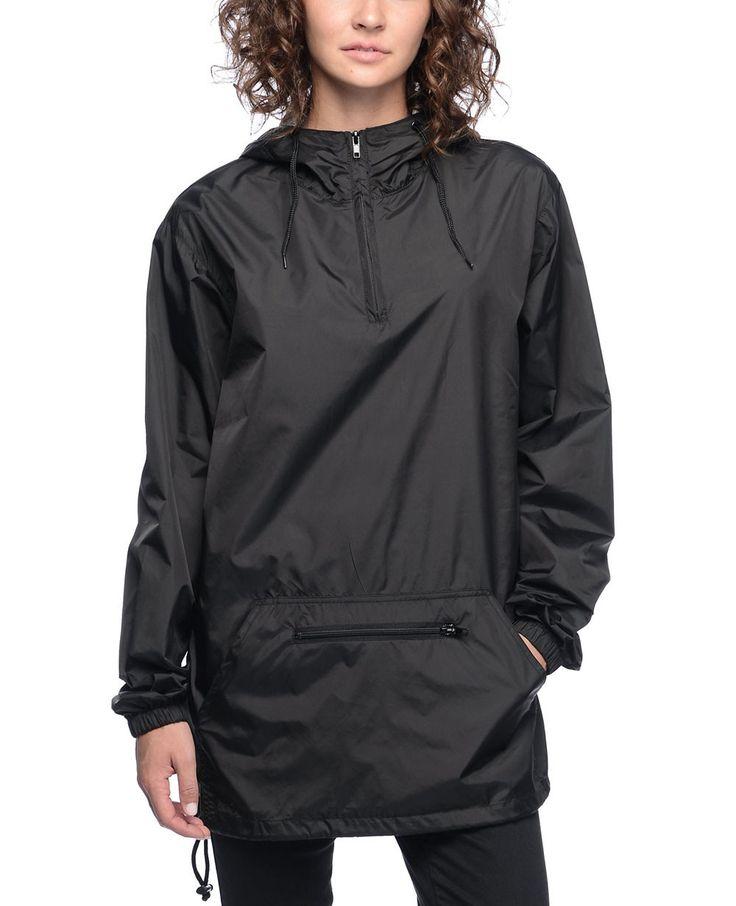 http://www.quickapparels.com/all-black-women-long-windbreaker-half-zip-up-jacket.html