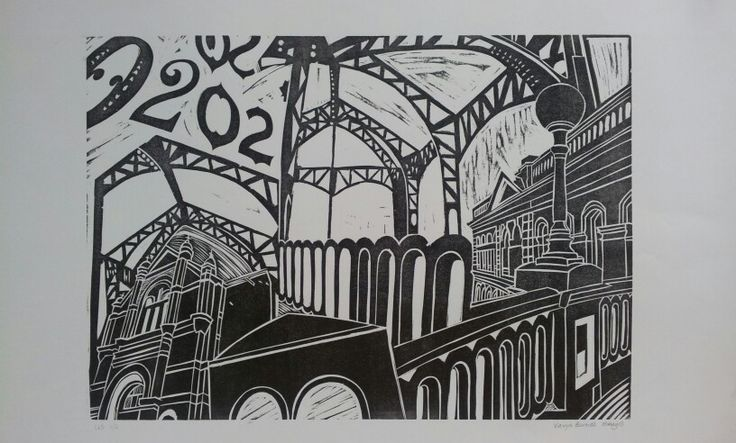 City theme collage > relief print from board