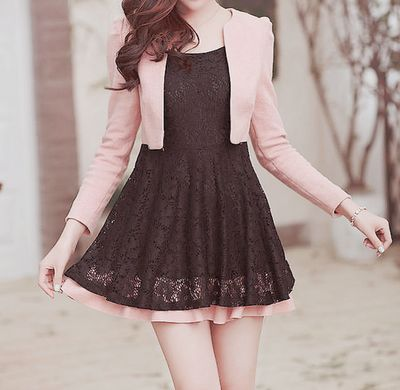 little black dress ^^ the pink is adorable