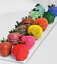 Why yes, I WOULD like to eat a tray of these // The FTD Pick Me Up Belgian Chocolate Dipped Rainbow Strawberries -12 Pieces
