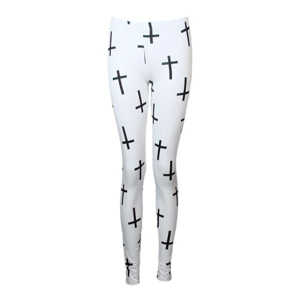 Pix For > White Cross Leggings Tumblr ❤ liked on Polyvore