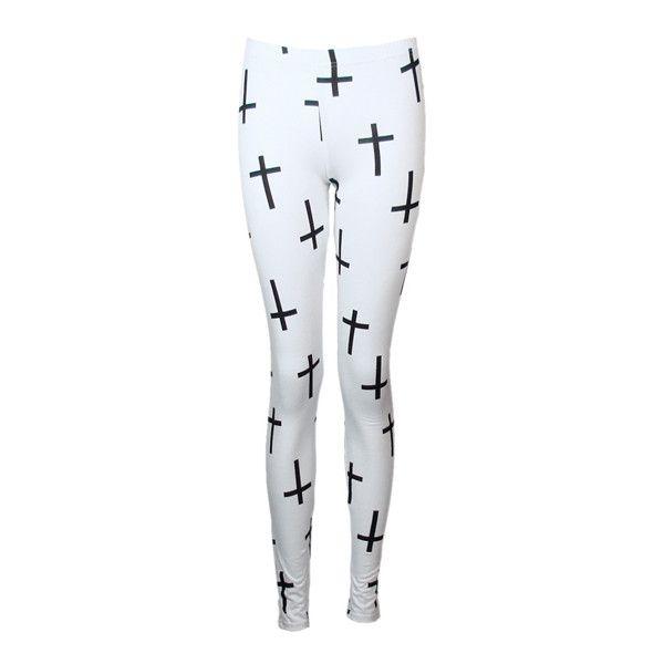 Pix For > White Cross Leggings Tumblr ❤ liked on Polyvore